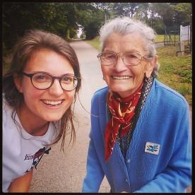 Samen met de oude Franse dame die ik onderweg tegenkwam